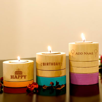Birthday T-Light Candles in Holders (Set of 3)