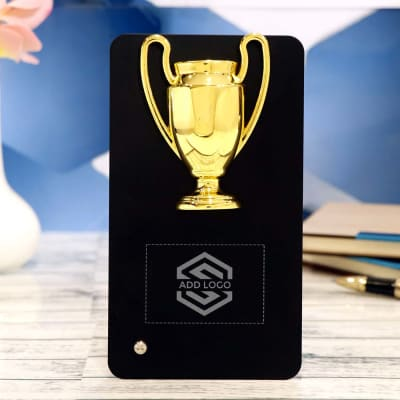 Black And Gold Metal Table Trophy - Customize With Logo