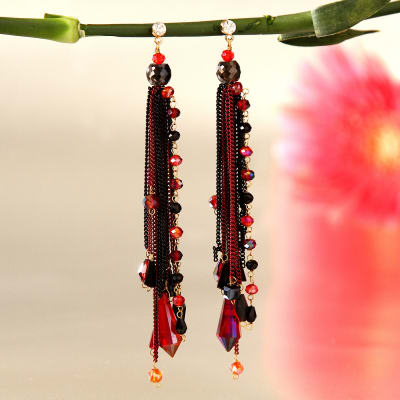 Black and Red Danglers