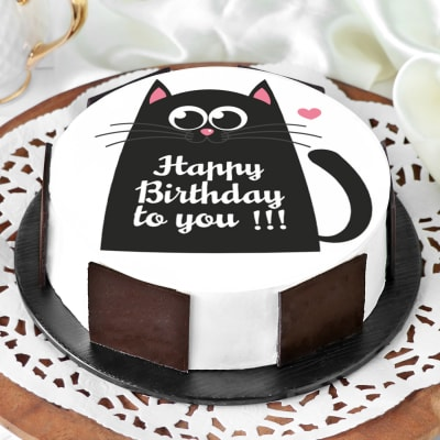 Cool Order Black Cat Birthday Cake Half Kg Online At Best Price Free Funny Birthday Cards Online Alyptdamsfinfo