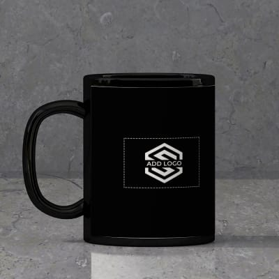 Black Ceramic Mug (250 ml) – Customized with Logo and Name