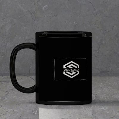 Black Ceramic Mug (250 ml) - Customized with Logo Image and Name
