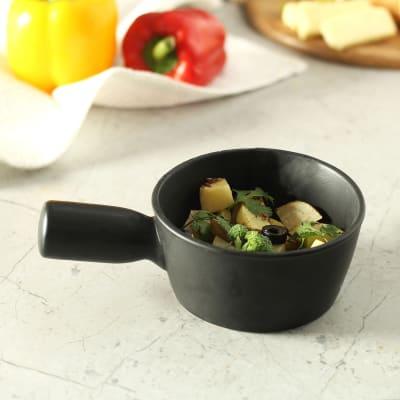 Black Ceramic Serving Bowl with Handle