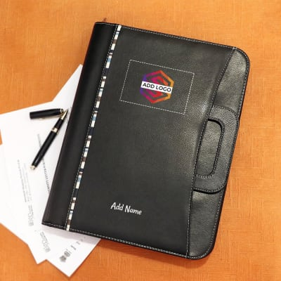 Black Faux Leather Office Conference Folder - Customized with Logo & Name