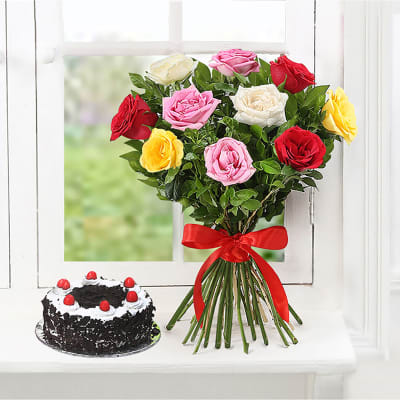 BLACK FOREST CAKE WITH 12 MULTI COLOR ROSES