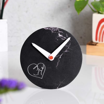 Black Marble Finish Table Clock for Mom