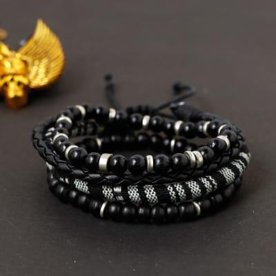 Black n White Men's Bracelets (Set of 4)