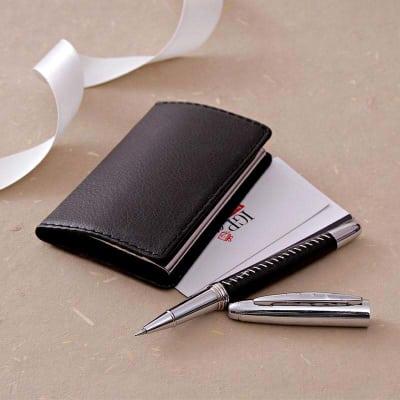Black Pen & Faux Leather Business Card Holder Set