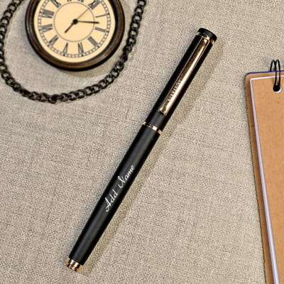 Black Roller Ball Pen - Customized with Name