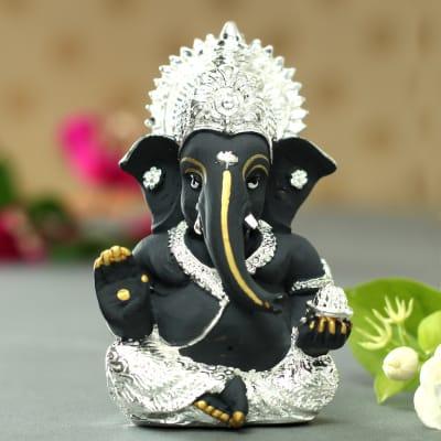 Black & Silver Lord Ganesha Idol