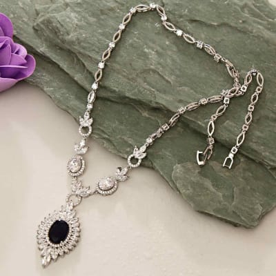 Black Stone Cz Necklace