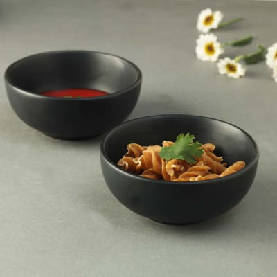 Black Stoneware Bowls - Set of 2