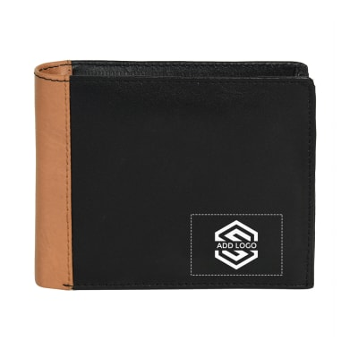 Black Tan Italian Crunch Leather Men's Wallet - Customizable with Logo
