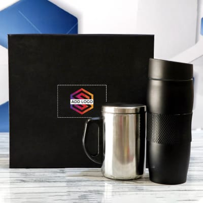Black Tumbler With Coffee Mug - Customize With Logo