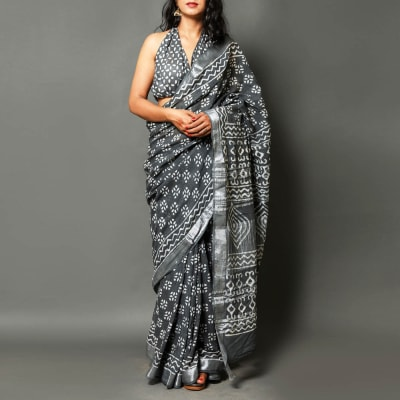 Block Print Linen Saree