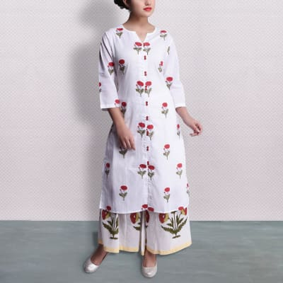 Block Print Long Kurta With Palazzo