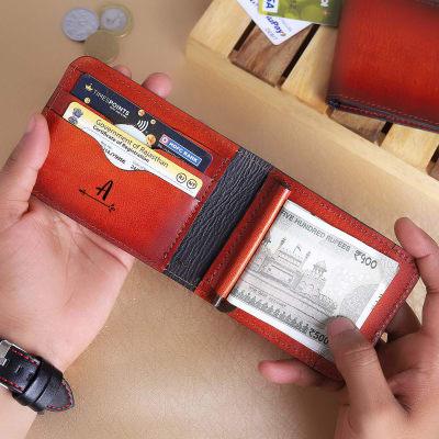 Block Print Personalized Money Clip Wallet