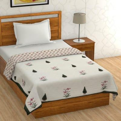 Block Print Single Bed Cotton Quilt