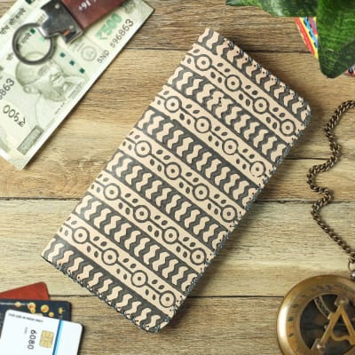 Block Printed  Long Leather Wallet for Women