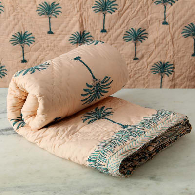 Block Printed Reversible Cotton Quilt for Double Bed