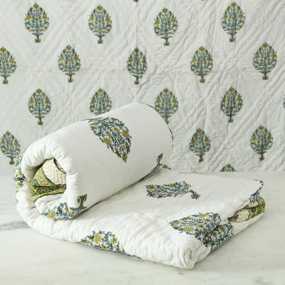 Block Printed Reversible Double Bed Cotton Quilt