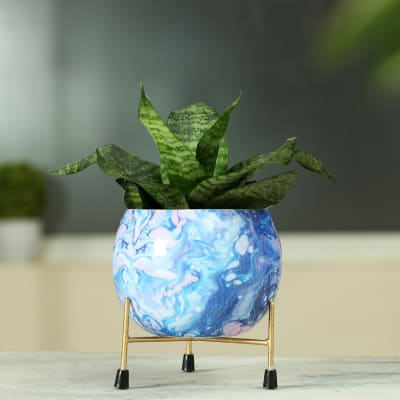 Blue Marble Metal Planter with Stand- Without Plant