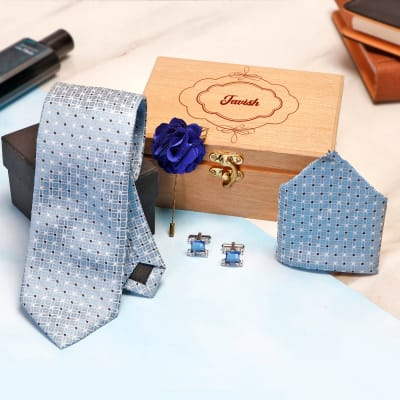 Blue Necktie Set in Personalized Gift Box