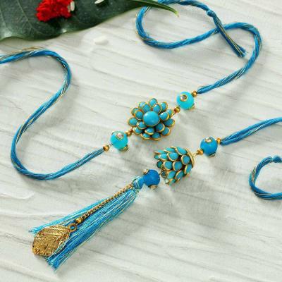 Blue Pachhi Work Bhaiya Bhabhi Rakhi with Kadi Kundan Blue Pearls