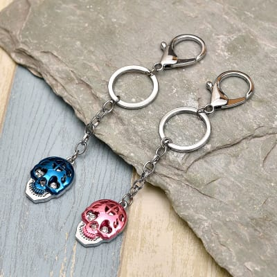 Blue & Pink Skull Shaped Key Chain Set