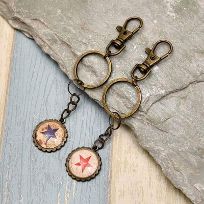 Blue & Red Star Design Key Chain Set