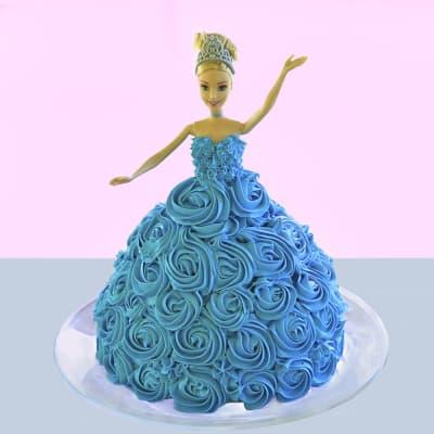Blue Rose Dress Barbie Cake (2.5 Kg)