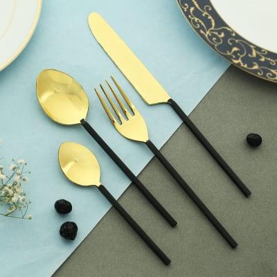 Bold Black Cutlery Set (4 Pcs.)