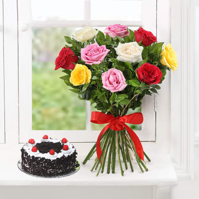 Bouquet of 10 Mix Roses with Black Forest Cake (Eggless) (Half Kg)