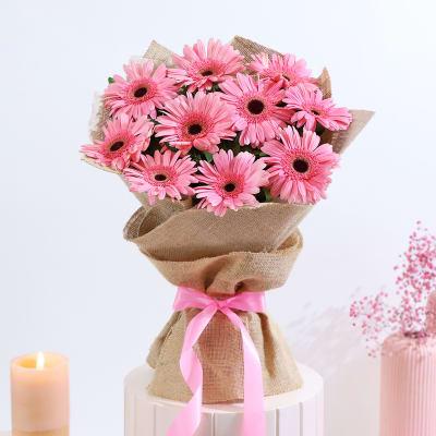 Bouquet of 10 Pink Gerberas