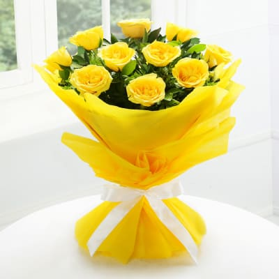 Bouquet of 10 Yellow Roses in Tissue Wrapping