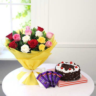 Cool Order Bouquet Of 15 Mix Roses With Black Forest Cake Chocolate Funny Birthday Cards Online Eattedamsfinfo
