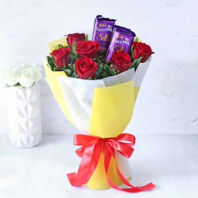 Bouquet of 2 Cadbury Silk & Red Roses