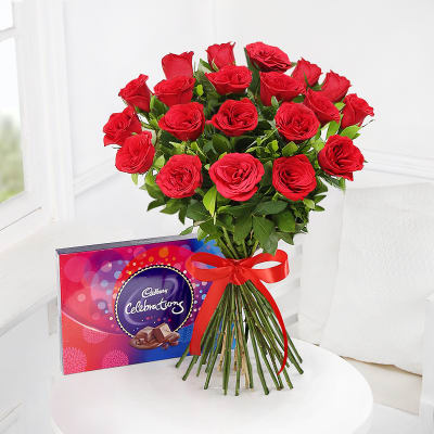 Bouquet of 20 Red Roses with Cadbury Celebrations Box