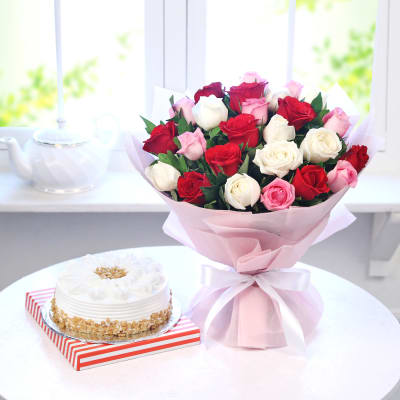 Bouquet of 25 Mix Roses with Butterscotch Cake (Half Kg)