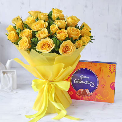 Bouquet of 25 Yellow Roses with Cadbury Celebrations