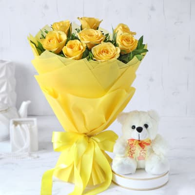 Bouquet of 8 Yellow Roses with Teddy