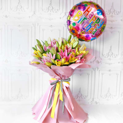 Bouquet of Assorted Lilies with Birthday Balloon