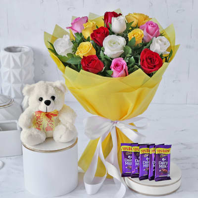 Bouquet of Assorted Roses with Chocolates & Teddy Bear