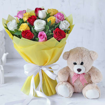Bouquet of Assorted Roses with Teddy Bear