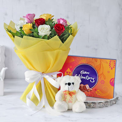 Bouquet of Assorted Roses with Teddy Bear & Cadbury Celebrations