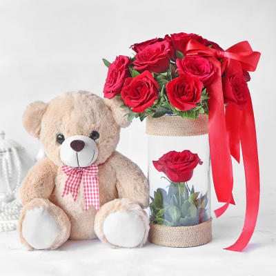 Bouquet of Enchanting Roses with Teddy
