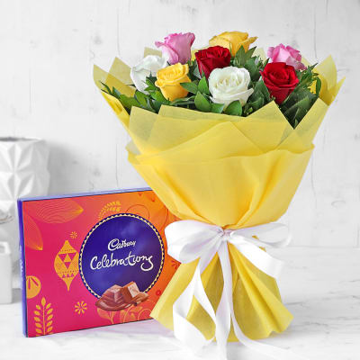 Bouquet of Mixed Roses with Cadbury Celebrations