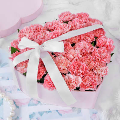 Bouquet of Pink Carnations in Heart-shaped Box