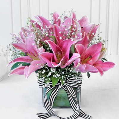 Bouquet of Pink Lilies in Square Vase (6 Stems)