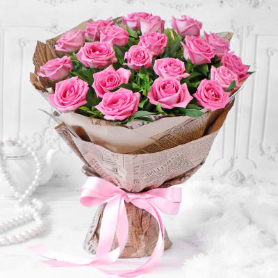 Bouquet of Pink Roses (20 stems)